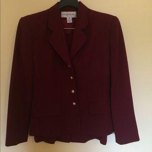 100% wool burgundy Jones New York skirt suit